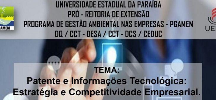 Professor do CCT ministra palestra na UEPB sobre Patentes e Informações Tecnológicas. Vagas são limitadas