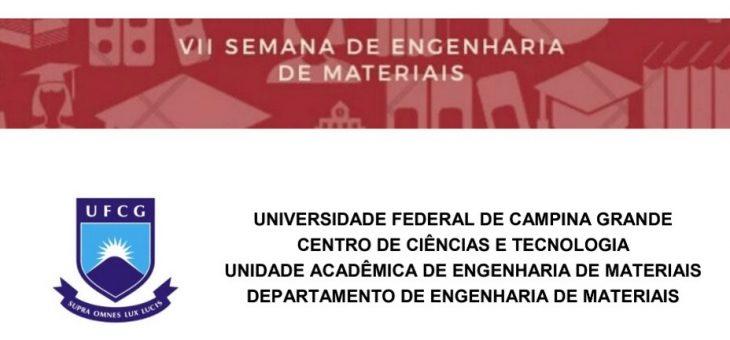 UFCG promoverá VII Semana de Engenharia de Materiais no início de junho