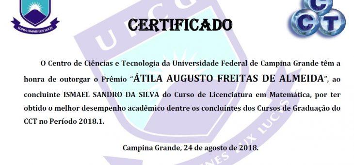 Graduando de Matemática ganha prêmio Átila de melhor aluno do CCT no período 2018.1