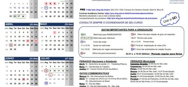 UFCG divulga Calendário Acadêmico 2019