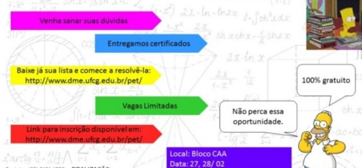 PET-Matemática realiza minicurso para alunos reforçarem conhecimentos e tirarem dúvidas